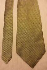 Brooks Basic Men's Gold-ish blue white Geometric patterns Silk Dress Tie