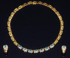 European Greece 750 18K Solid Gold Natural Emerald Diamond Necklace Earrings Set