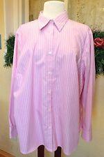 Lauren Ralph Lauren Striped Shirt 2X  Pink White Non Iron Classic Casual Plus