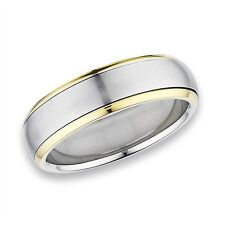 Stainless Steel 6mm SPINNING High Polish Band Ring w Gold Tone Edge Size 6-12
