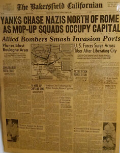 1944 Vintage Newspaper-Yanks Chase Nazis-Allied Bombers US Forces Rome Falls