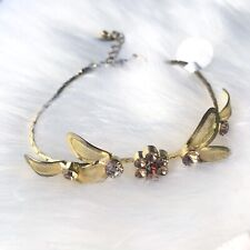 Floral Design Gold Faux Topaz & Amber Fashion Bracelet