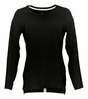 Isaac Mizrahi Live! Women's Sz S Pima Cotton Hi-Low Hem Knit Top Black A389762