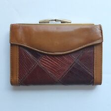 vintage BOSCA ladies genuine lizard and leather bi-fold wallet c.1978—excellent