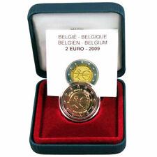 """2 euro BELGIO 2009 """"FONDO SPECCHIO """" """"PROOF""""  10° anni Unione Economica UEM"""
