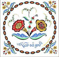 """Scandinavian Trivet Tile:  """"Var Sa God""""  Swedish Flower 6"""" X 6"""" , Cork Backing"""