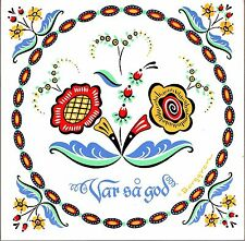 "Scandinavian Trivet Tile:  ""Var Sa God""  Swedish Flower 6"" X 6"" , Cork Backing"