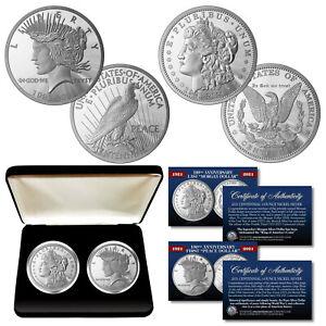 100th Anniversary MORGAN & PEACE DOLLAR 1 OZ. Silver Nickel 2-Coin Set with BOX