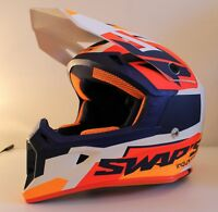 Casque motocross SWAP'S BLUR S818 Bleu / Blanc / Orange Mat