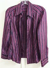 Gucci Italy Black Red Striped 100% Silk Blouse Shirt Top Women's Size S EUR 42