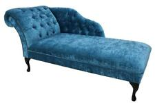 Chesterfield Velvet Chaise Lounge Loungue Day Bed Modena Pea Blue