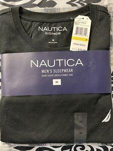 Nautica Men's Sleepwear 2 Pc Black Short Sleeve Shirt And Flannel Pants MEDIUM