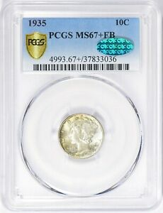 1935 - P Mercury Dime PCGS MS 67+ FB  Secure & CAC Label Free Shipping USA Only