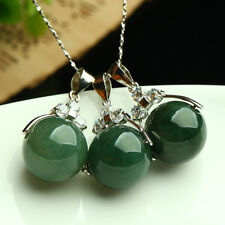 Women Green Emerald Round Bead Pendant Necklace Natural Burma Real Jade Jewelry