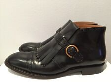 Marc Jacobs Monk-Strap Glossy Leather Ankle Boot with Fringe Black Size 38 $1075