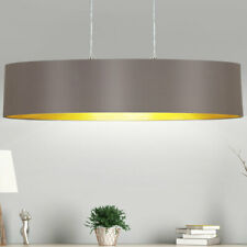 Stoff Hänge Lampe oval cappuccino Wohn Schlaf Zimmer Pendel Lampe gold-farbig