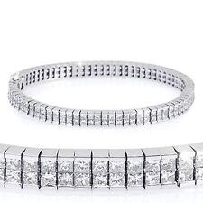 7.70 Ct Princess Diamond 2Row Invisible Tennis Bracelet