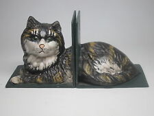 Antique Vintage Calico Striped Cast Iron Cat Bookends Heavy Lying Down 2 pieces