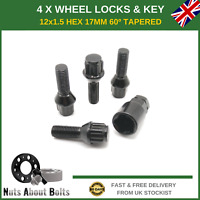 Black Locking Wheel Bolts For BMW 3 Series E36 (1990-00) 4+ Key M12X1.5 Nuts