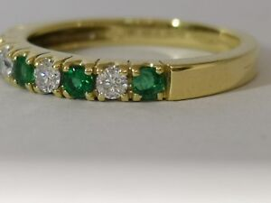 Emerald and Diamond half hoop eternity ring 18ct yellow gold