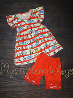 NEW Dr Seuss Tunic Dress & Ruffle Shoirts Girls Boutique Outfit Set