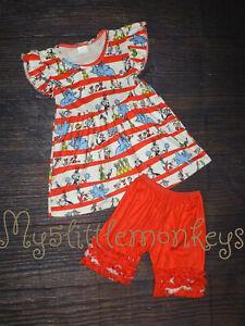 NEW Dr Seuss Tunic Dress & Ruffle Shoirts Girls Boutique Outfit Set