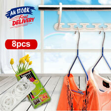 8x Space Saver Magic Hanger Hooks Clothing Coat Clothes Closet Organizer Storage