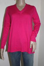 Gap Women's Long Sleeve V-Neck Fuchsia Sweater 100% Cotton NWT Size MEDIUM