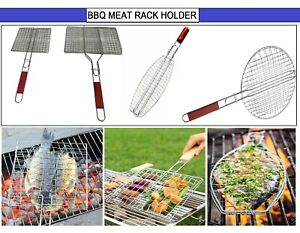 BBQ Grill Long WOOD Handle Meat Burger Fish Holder Rack Rectangle Folding Stand