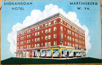 1940s Linen Postcard: Shenandoah Hotel, Valley - Martinsburg, West Virginia WV