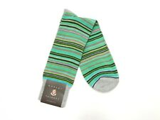 Robert Talbott Mens Dress Socks Size 10-13 Made in Italy Gray Teal Green Striped
