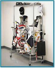 Golf Bag Storage Organizer Rack Equipment Stand Club Shoes Wheels Shelf Metal