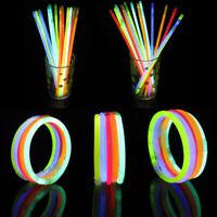 "10x Glow Stick Bracelet Necklace light Neon Kids Party Multi Colors Christmas 8"""