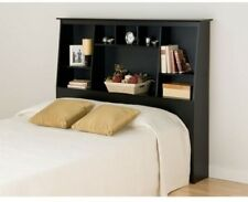 Full Queen Tall Slant-Back Bookcase Headboard With Storage In Black Finish
