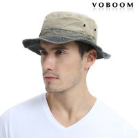 100% Cotton Bucket Hat Mens Fisherman Hat Hunting Hiking Flat Cap Black L/XL