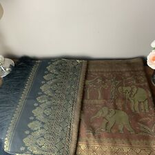 Elephant Design Table Runnerwith Organza 2metres long from Thailand Brand New!!
