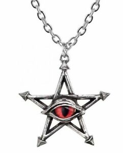 Alchemy England - Red Curse Pendant Necklace, Pentagram, Evil Eye Gothic, Wiccan