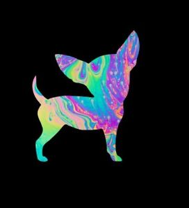 """Chihuahua in Psychedelic Water Marble Sticker for Insulated Cups** 3"""" X 3"""" ***"""