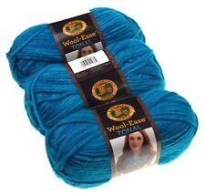 Lion Brand Yarns Wool Ease Tonal Aqua Blue Lot of 3 Acrylic Wool Knit Crocheting