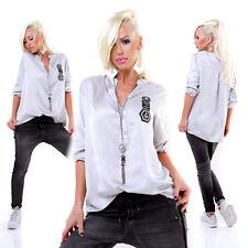 "Oversize Bluse Tunika Fischerhemd Satin Hemd Glossy Longtop Top ""Design"" Grau"
