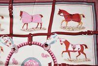 Halstuch mit Pferd Motiven, Weiß/Rot, mit Seide + Viskose sehr weich + angenehm