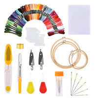 Cross Stitching Punch Needle Tool+50pcs Stitch Thread+Embroidery Circles+ Fabric
