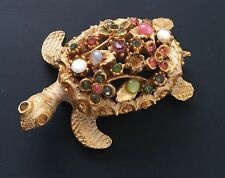 Vintage Sea Turtle Signed Art Pin/Brooch W/Stones & Crystals On Gold Tone Metal