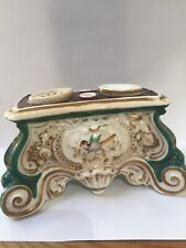RARE Old c1890s Hand Painted French Rococo Revival Inkwell Stand Desk Set