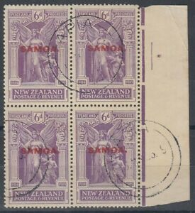 SAMOA 1920 6d. VICTORY USED BLOCK (x4)