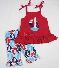Kellys Kids 2pc Outfit Set Nautical Sail Boats Red White Blue Ruffles 2T EEUC+