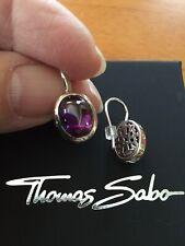 Thomas Sabo Purple CZ, 925 Sterling Silver Drop Earrings