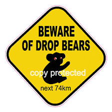 Funny bumper stickers Beware of Drop Bears 140mm car decal Australian legend
