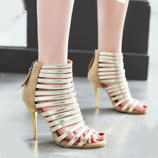 Women Stiletto Roman Gladiator Sandals Open Toe Zip High Heel Dress Pumps Shoes