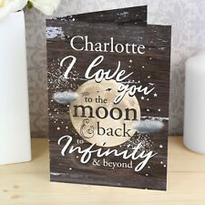Personalised I Love You To The Moon And Back Greetings Card Valentines Birthday
